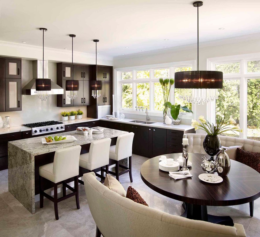 Inspiration for a mid-sized contemporary l-shaped marble floor eat-in kitchen remodel in Toronto with flat-panel cabinets, dark wood cabinets, a double-bowl sink, quartz countertops, white backsplash, stone slab backsplash, stainless steel appliances and an island