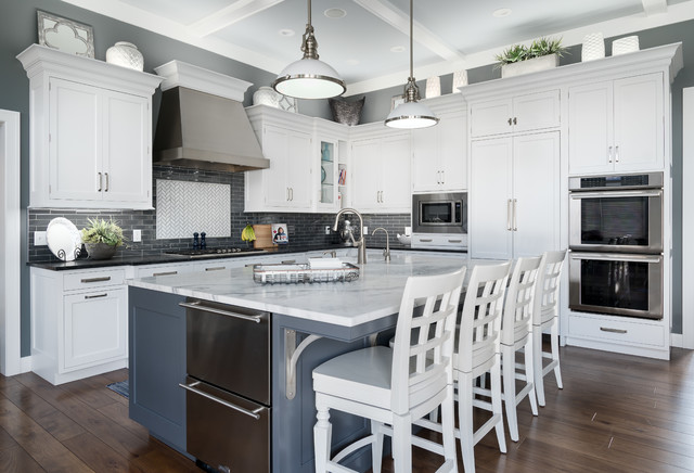 Kitchen - transitional l-shaped dark wood floor and brown floor kitchen idea in Grand Rapids with shaker cabinets, white cabinets, multicolored backsplash, stainless steel appliances, an island and black countertops