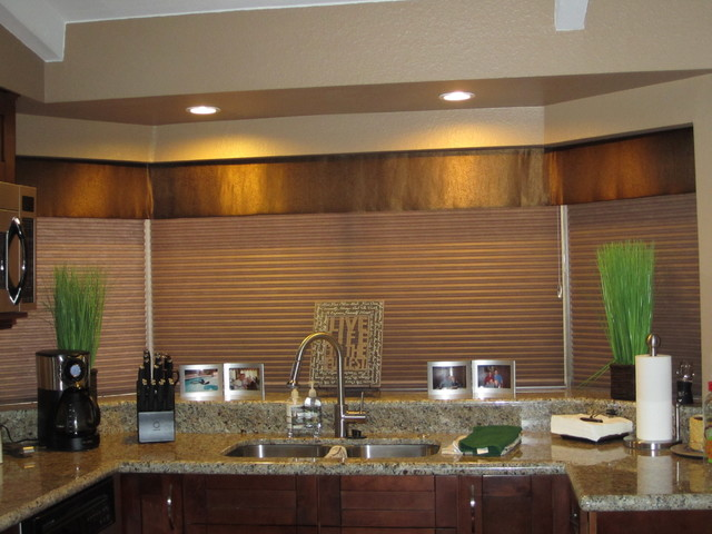 Tailored valance over Duettes Transitional Kitchen