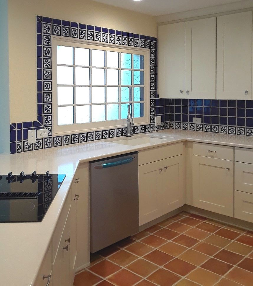 - Talavera Tile Backsplash With Saltillo Tile Flooring