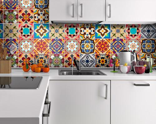Vintage Fliesen auf Küchenrückwand