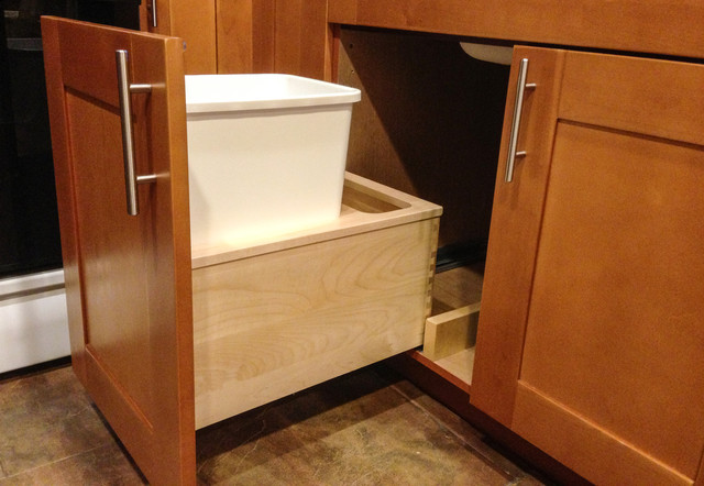 under sink garbage pull out traditional kitchen new york by nadler cabinet services inc. Black Bedroom Furniture Sets. Home Design Ideas