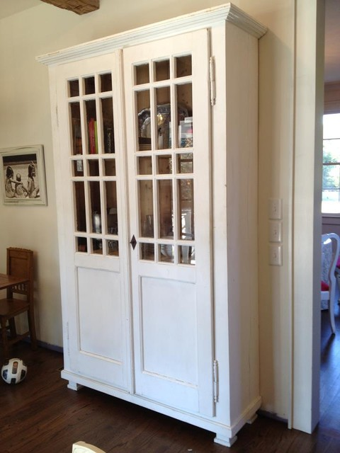 Tall White Glass Front Cupboard Is 8u0027 Tall. Eclectic Kitchen