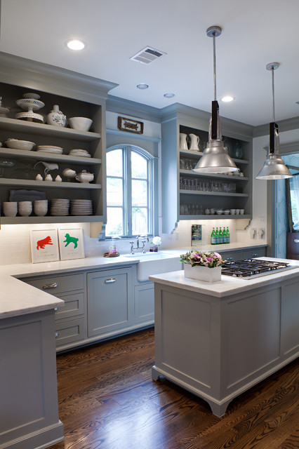 cooking with color when to use gray in the kitchen grey kitchen blue cabinet color beadboard - Blue Grey Kitchen Cabinets