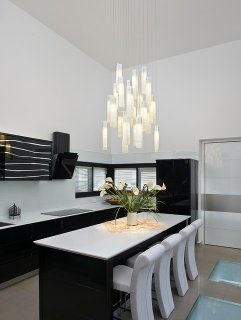 Tanzania Chandelier Contemporary Kitchen New York