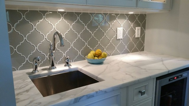Charming Taupe Arabesque Glass Mosaic Tile Backsplash Traditional Kitchen