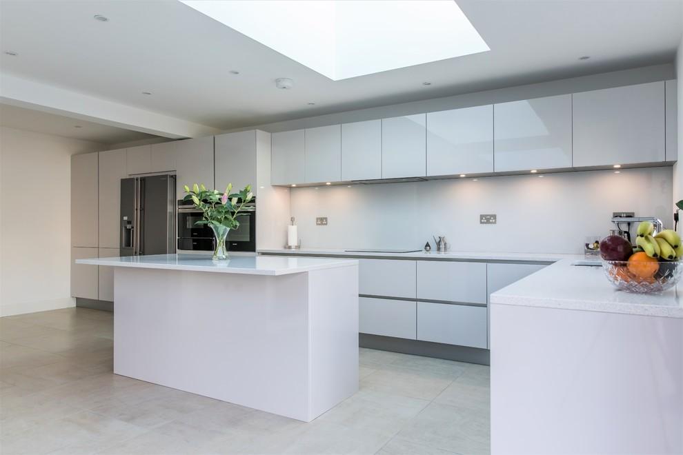 taupe gloss kitchen island  modern  kitchen  london