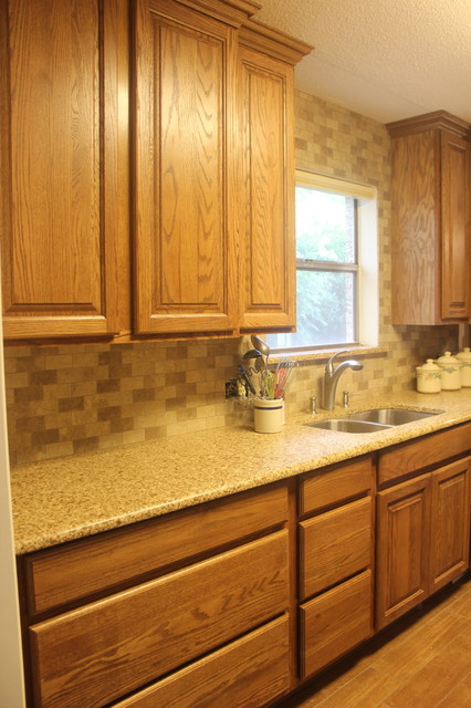 Tawny Oak Cabinets W Chocolate Truffle Caesarstone And
