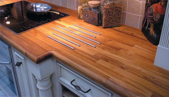 Teak Solid Wood Countertop With Inset Heat Rods For Protection From
