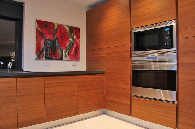 Teak Wood Kitchen Cabinets Modern New York
