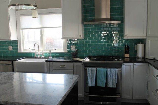 teal glass subway tile backsplash modern kitchen