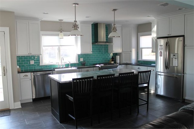Teal Gl Subway Tiles Modern