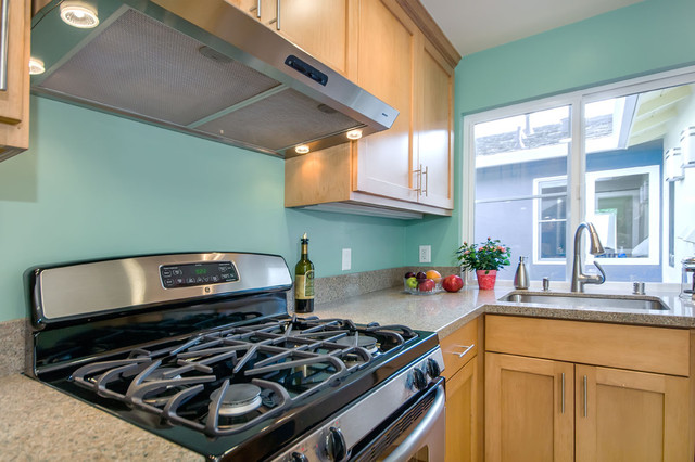 Teal kitchen in duplex - Traditional - Kitchen - San Francisco - by Bill Fry Construction - Wm ...