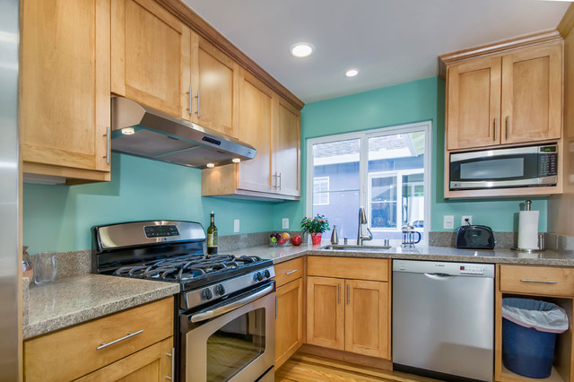 Kitchen Paint Color Trends  With Natural Color Wood Cabinets