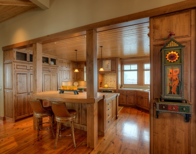 View to kitchen from dining area. farmhouse-kitchen