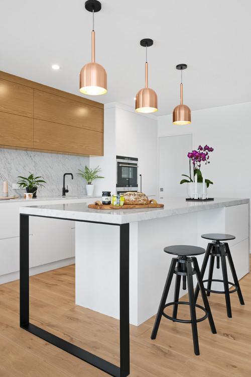 copper pendant lights in kitchen Scandinavian design