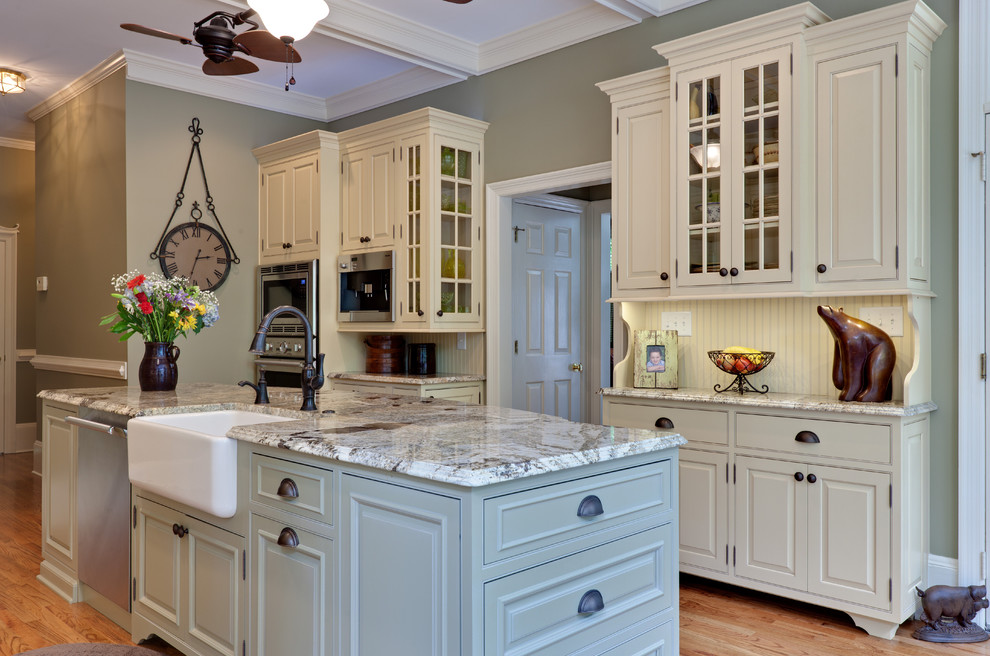 Inspiration for a timeless kitchen remodel in Atlanta with beaded inset cabinets, a farmhouse sink and beige cabinets
