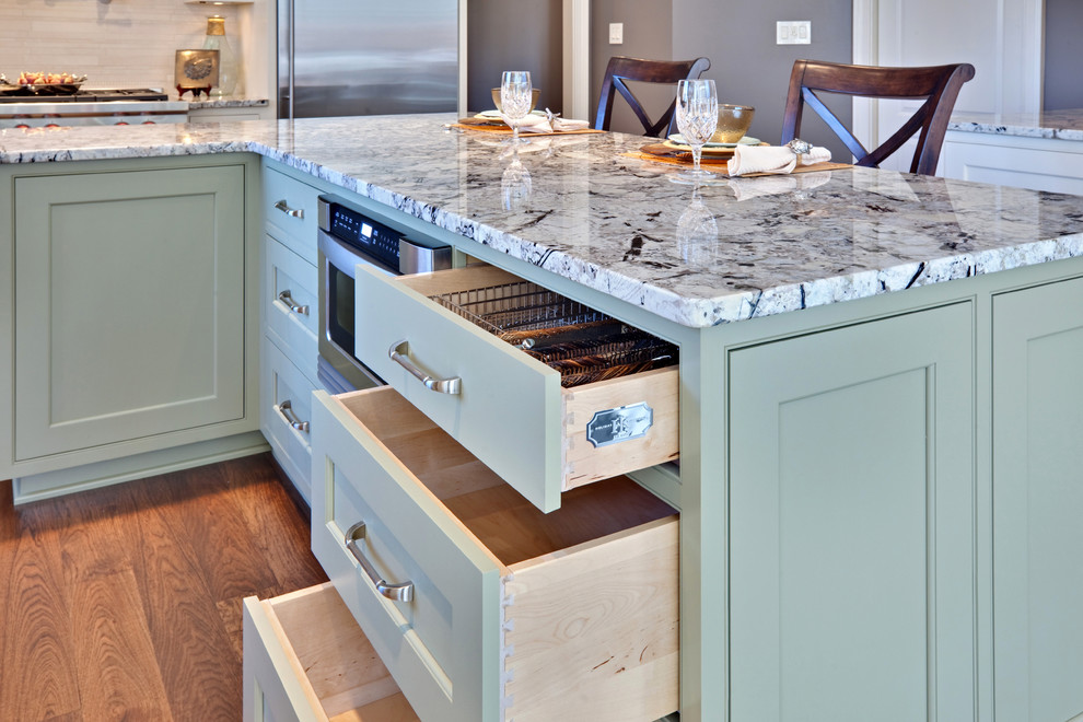 Inspiration for a contemporary kitchen remodel in Atlanta with granite countertops, beaded inset cabinets, green cabinets and stainless steel appliances