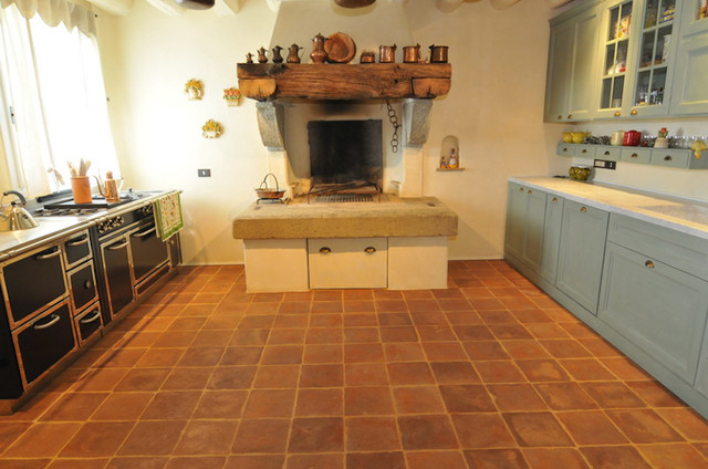 Terracotta floors mediterranean kitchen san for Terracotta kitchen ideas