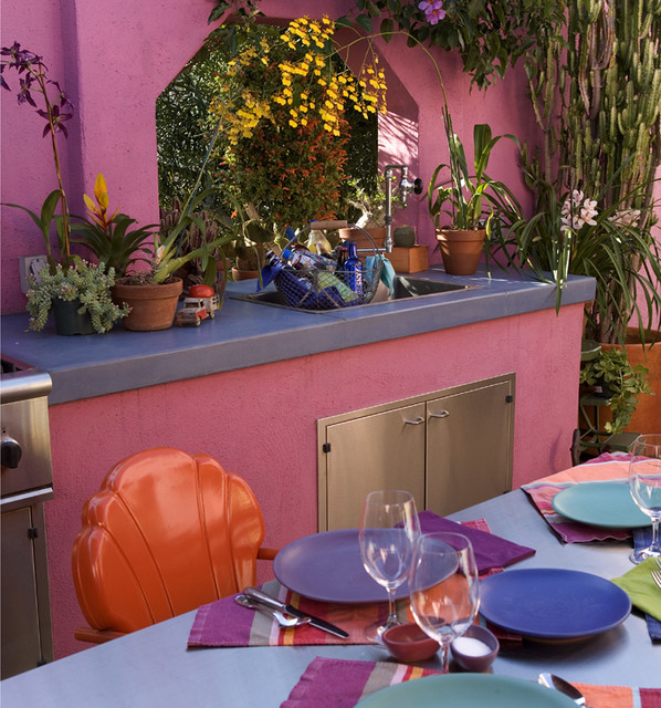 that pink kitchen - outdoor kitchen eclectic kitchen