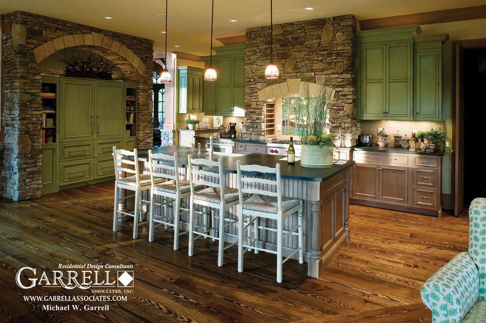 Example of an arts and crafts kitchen design in Atlanta