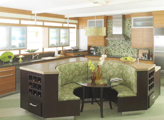 Kitchen island with booth seating house furniture for Kitchen island with round seating area