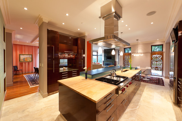 Inspiration For A Contemporary Eat In Kitchen Remodel In Edmonton With  Stainless Steel Appliances And