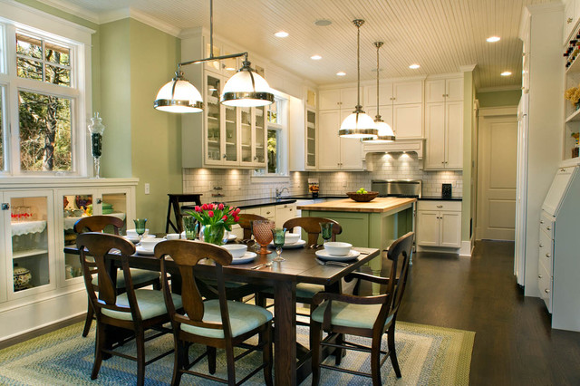 Clemson double pendant houzz large country l shaped dark wood floor and brown floor eat in kitchen photo aloadofball Images
