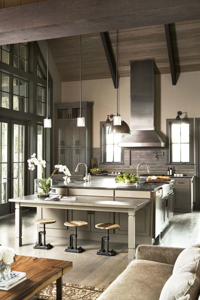 Inspiration for a rustic open concept kitchen remodel in Other with gray cabinets, gray backsplash, shaker cabinets, stainless steel appliances, an island and granite countertops