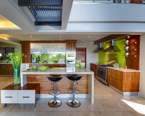 contemporary kitchen with wide plank floors