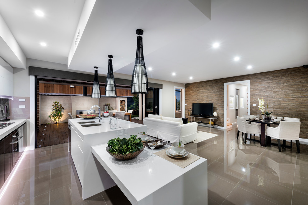 The Curzon Display Home Contemporary Kitchen Canberra Queanbeyan By Rivoland Tiles
