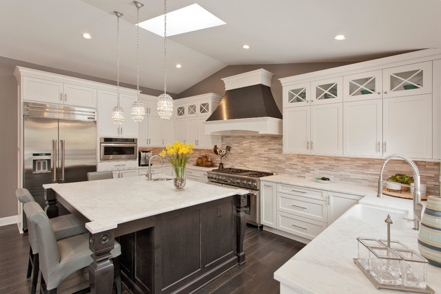Large Contemporary U Shaped Kitchen Idea In DC Metro With Shaker Cabinets,  White Cabinets