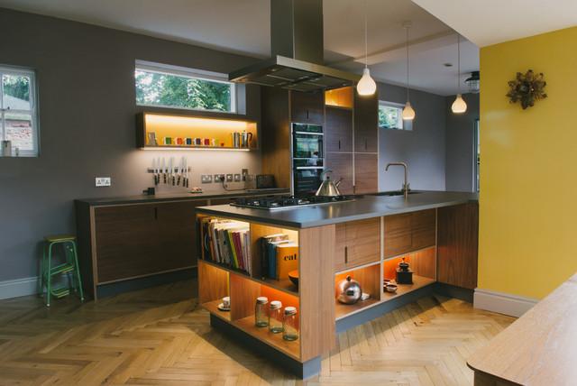 The Hadfields Walnut Veneer Green Orange Yellow Laminated Plywood Kitchen Contemporary Kitchen Other By Wood Wire Houzz Uk