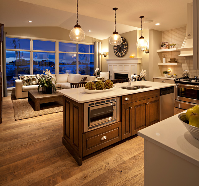 The hawthorne kitchen great room at dusk traditional for Great room kitchen ideas