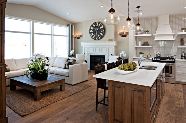 great room traditional kitchen calgary by cardel designs