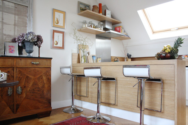 The home of Corinne and Christophe eclectic-kitchen