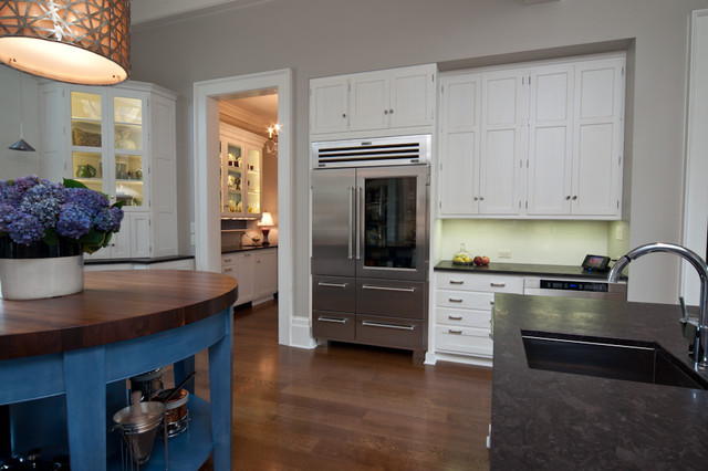 """The Hummer"" refrigerator wall traditional-kitchen"