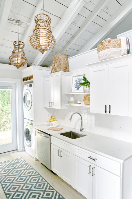 Example of a small coastal light wood floor and beige floor kitchen design in Providence with a single-bowl sink, white cabinets, granite countertops, white backsplash, ceramic backsplash, stainless steel appliances, no island, white countertops and shaker cabinets
