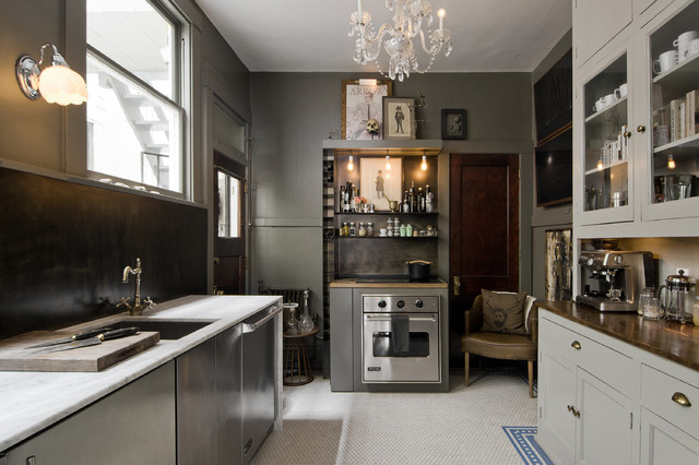 Inspiration for a small eclectic ceramic floor kitchen remodel in Salt Lake City with an undermount sink, glass-front cabinets, gray cabinets, stainless steel appliances, no island, marble countertops and brown backsplash