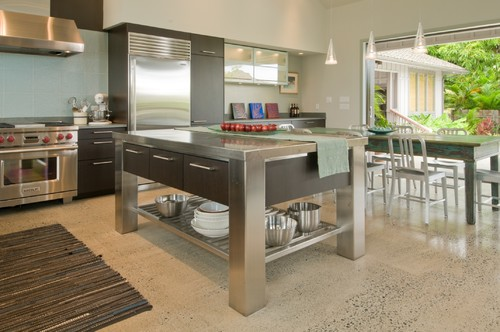 Where did the stainless steel island table come from?