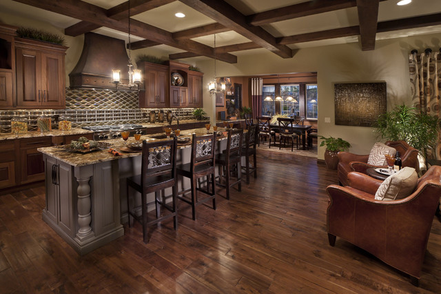 Tuscan Galley Kitchen Photo In Denver With Raised Panel Cabinets Dark Wood And