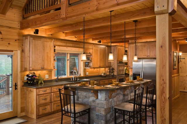 The Park Vista - Rustic - Kitchen - Charlotte - by Log Homes of America