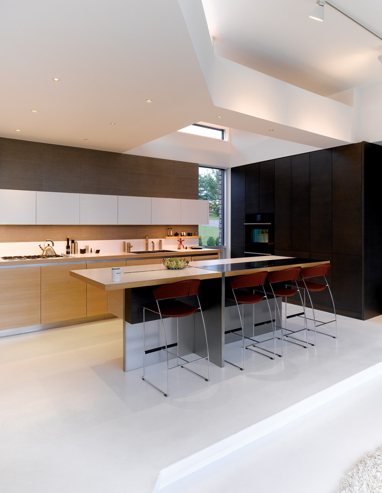 Inspiration for a modern l-shaped kitchen remodel in Kansas City with flat-panel cabinets and light wood cabinets