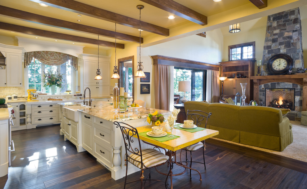 Inspiration for a timeless kitchen remodel in Portland with a farmhouse sink and granite countertops