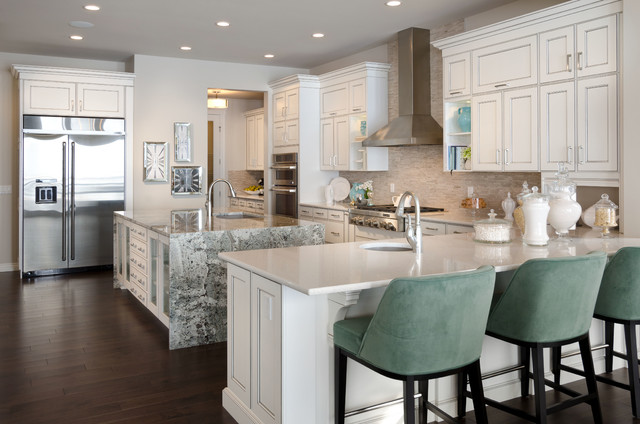 Inspiration For A Contemporary Kitchen Remodel In Calgary With Stainless  Steel Appliances, Granite Countertops And
