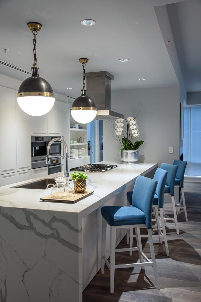 Kitchen - huge contemporary single-wall kitchen idea in Toronto