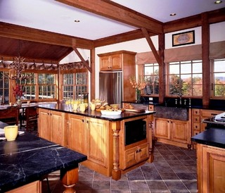 The somerset post and beam barn home traditional for Post and beam kitchen ideas