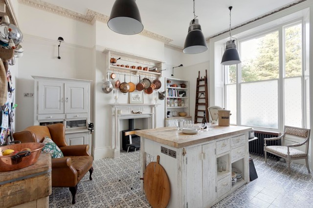Genial Example Of A Cottage Chic Kitchen Design In Sussex With Open Cabinets, Wood  Countertops And