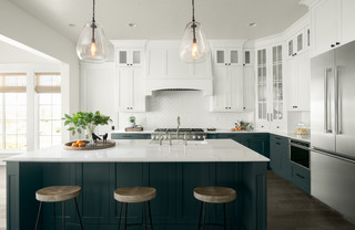 white kitchens with dark lowers 1