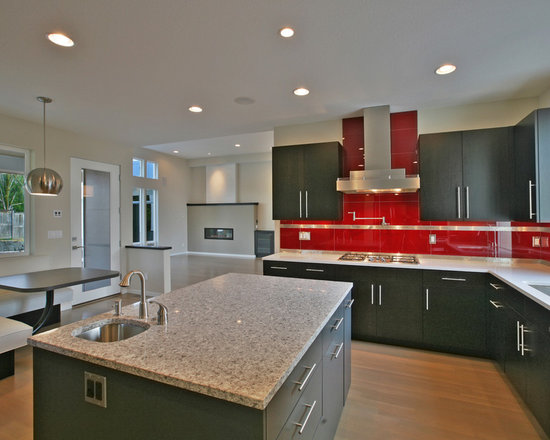 red glass subway tile home design ideas pictures remodel